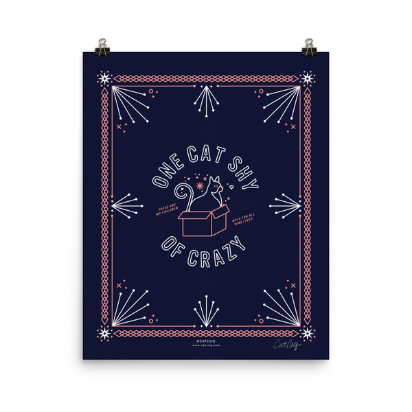One Cat Shy of Crazy – Blush & Denim Palette • Art Print