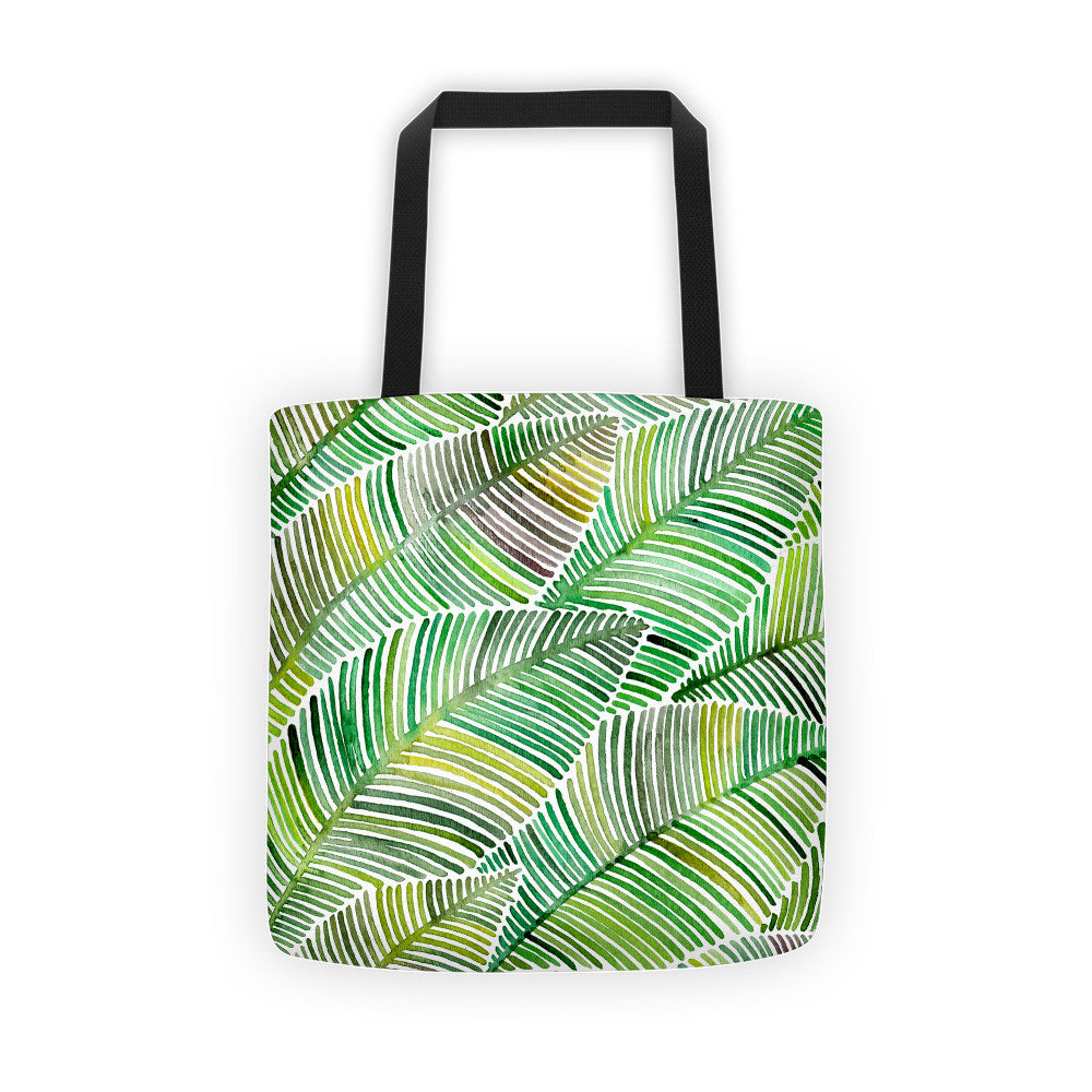 Tropical Leaves – Green Palette  •  Tote Bag