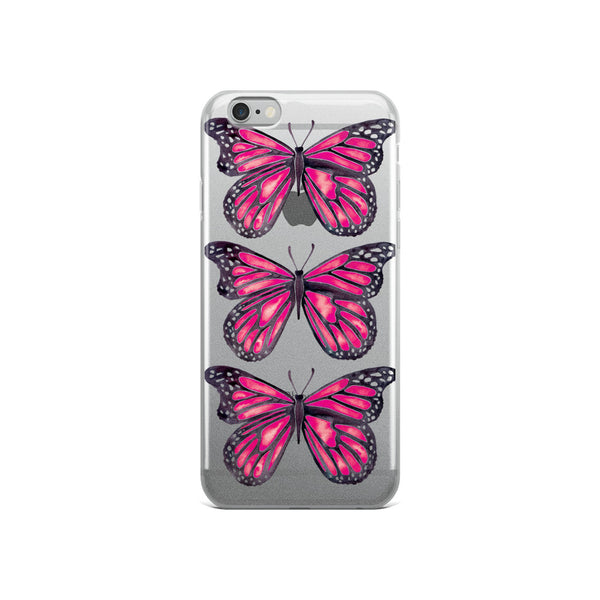 Butterfly – Pink Palette • iPhone Case (Transparent)