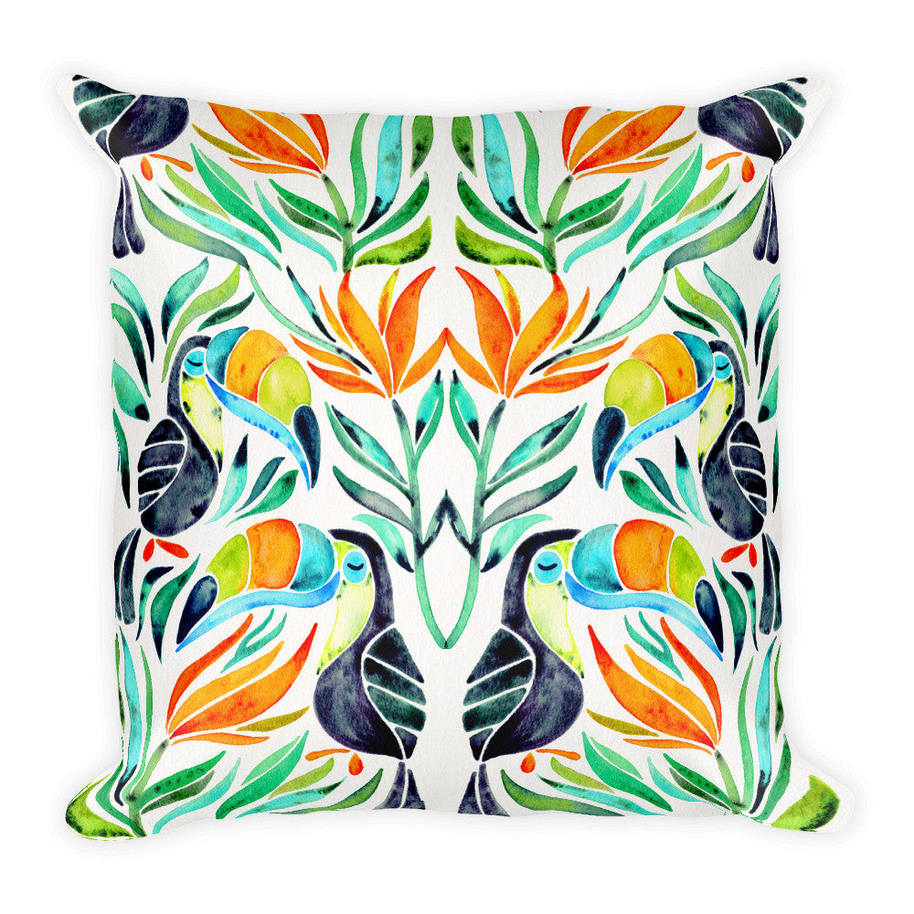 Tropical Toucans – Green Leaves  •  Square Pillow