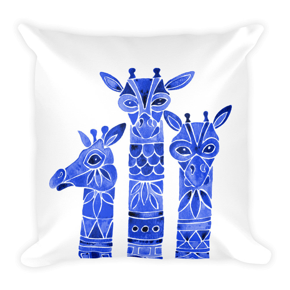 Giraffes – Navy Palette • Square Pillow