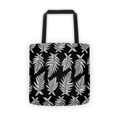 Inked Ferns – White Ink on Black • Tote Bag