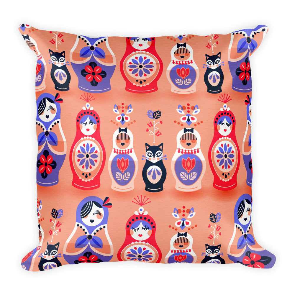 Russian Nesting Dolls – Blush and Lavender Palette  •  Square Pillow