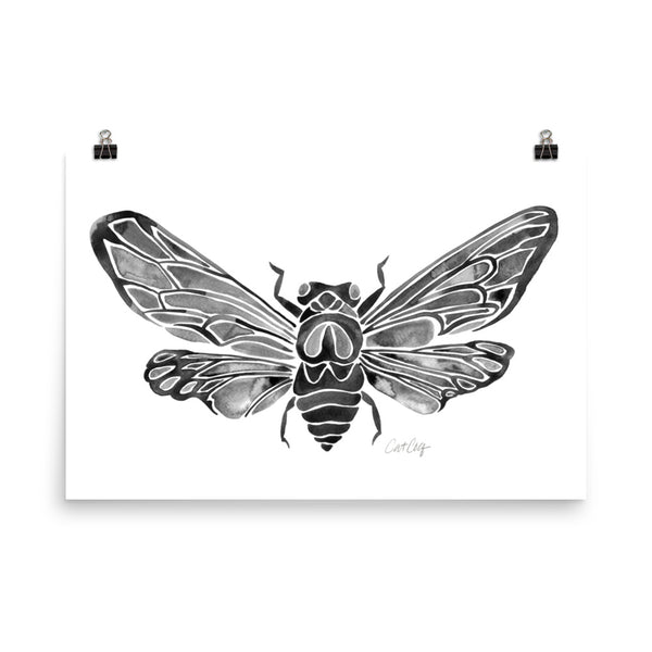 Summer Cicada – Black Palette • Art Print