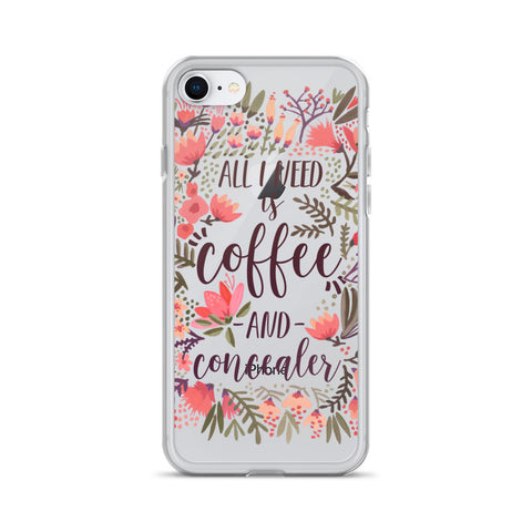 Coffee & Concealer – Vintage Palette • iPhone Case (Transparent)