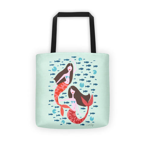 Koi Mermaids – Mint Palette • Tote Bag