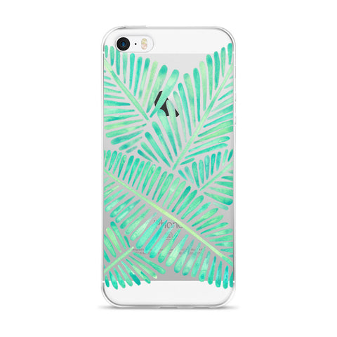 Banana Leaves – Mint Palette  •  iPhone 5/5s/Se, 6/6s, 6/6s Plus Case (Transparent)