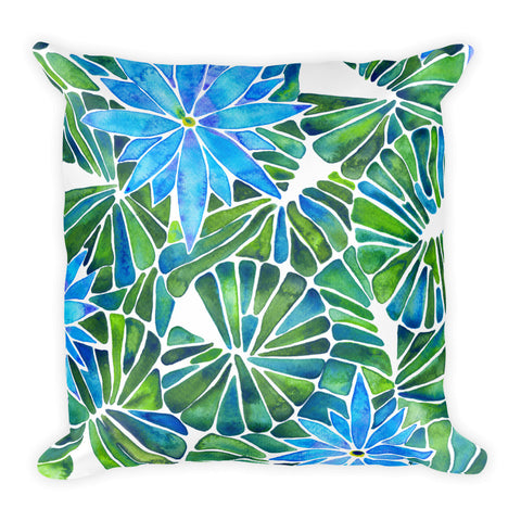 Water Lilies – Blue & Green Palette  •  Square Pillow