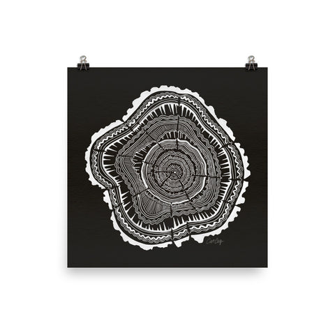 Tree Rings – White Ink on Black • Art Print