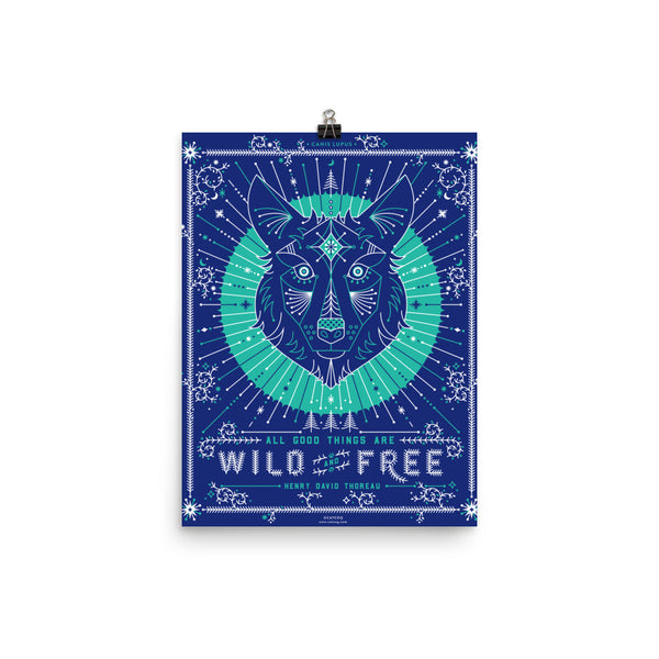 Wild & Free Wolf – Navy & Turquoise Palette  •  Art Print