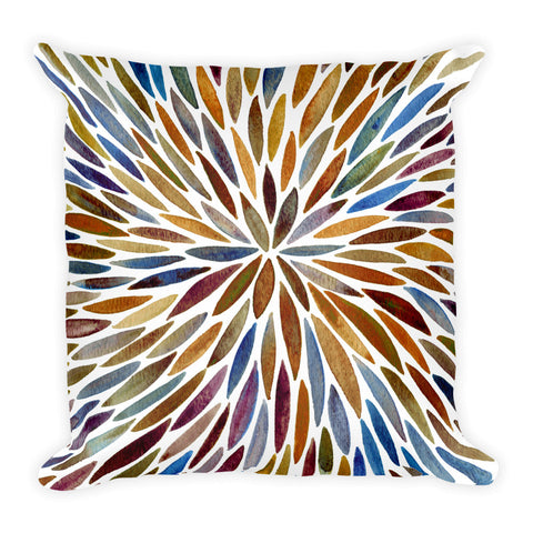 Watercolor Burst – Vintage Palette  •  Square Pillow