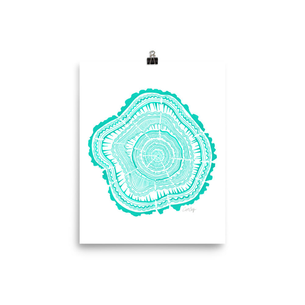 Tree Rings – Turquoise Palette • Art Print