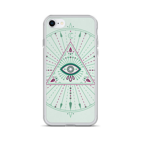 All-Seeing Eye Mandala – Mint Palette • iPhone Case