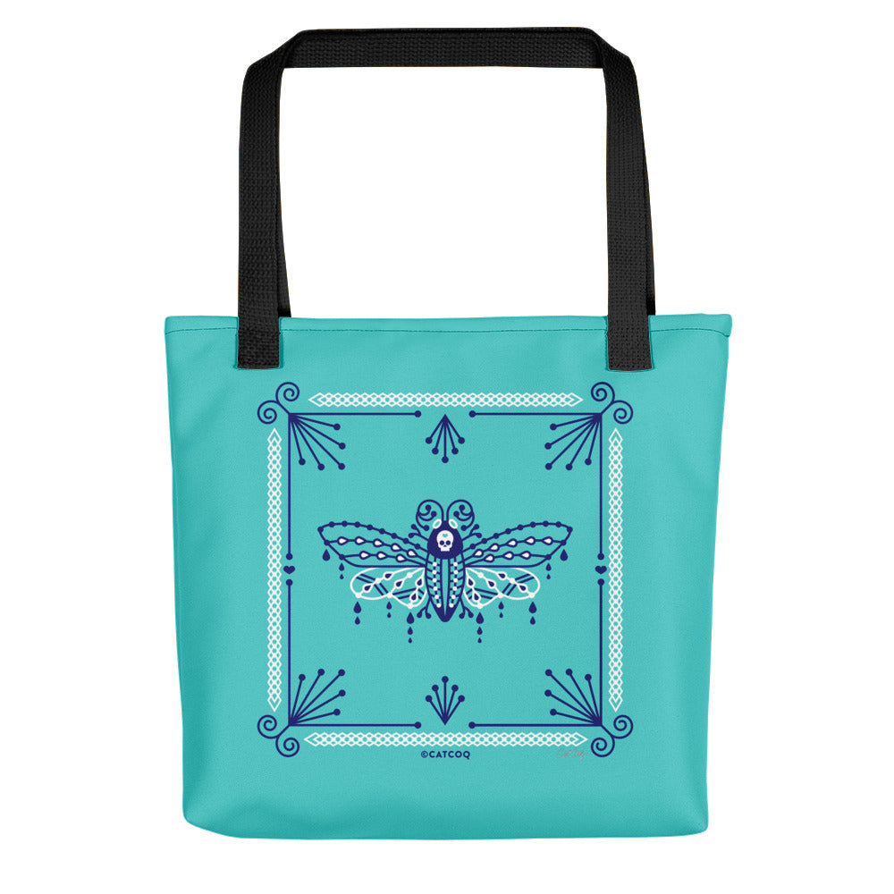 Death's Head Hawkmoth – Navy and White on Turquoise • Tote Bag