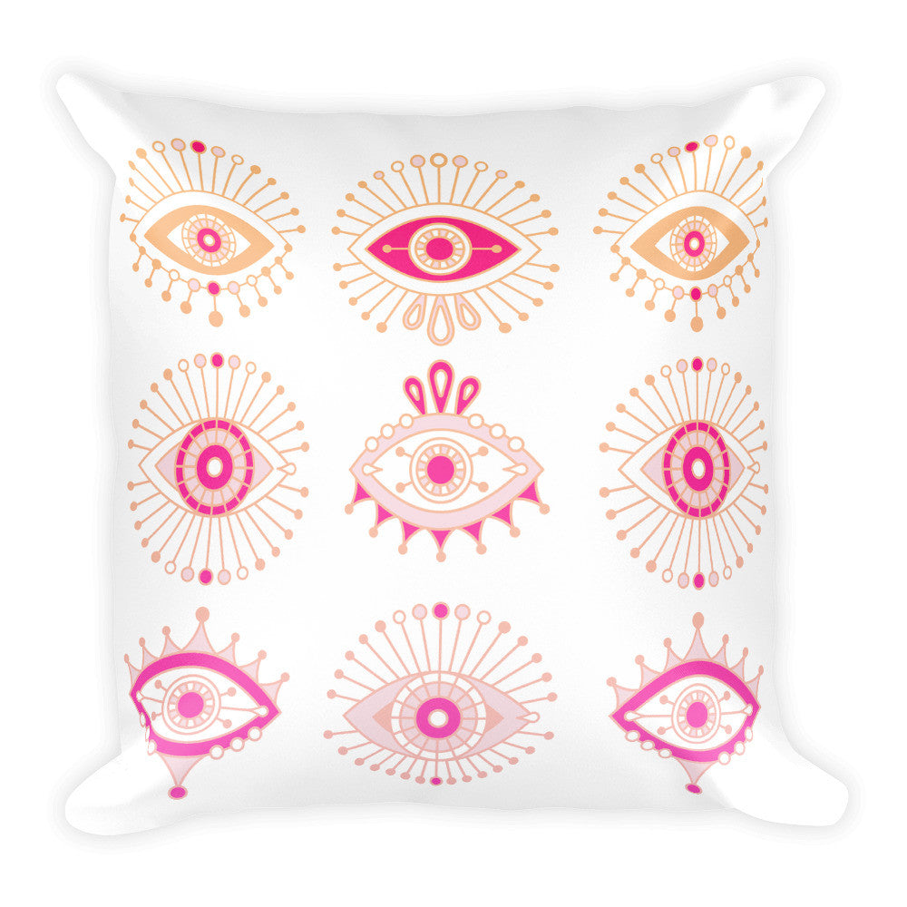 Evil Eyes – Pink Ombré Palette  •  Square Pillow