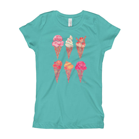 Ice Cream Cones – Peachy Pink Palette • Girl's T-Shirt