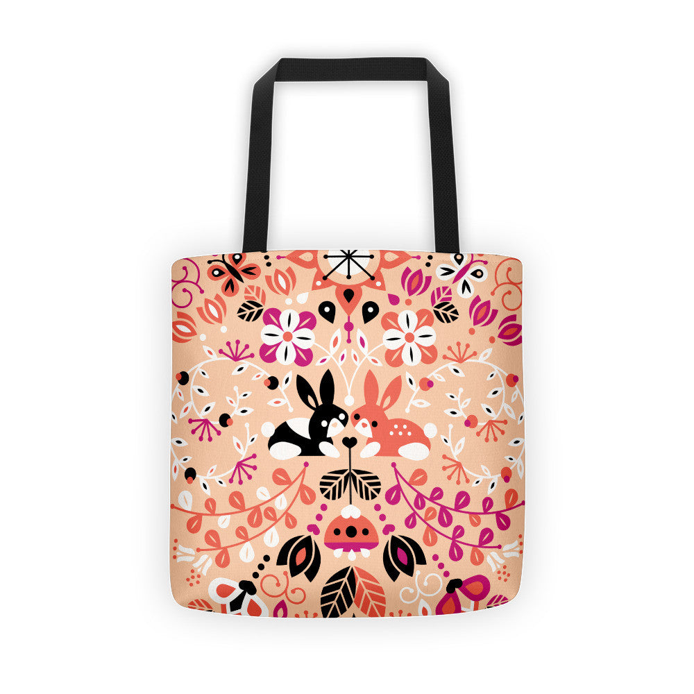 Bunny Lovers – Orange & Pink Palette  •  Tote Bag