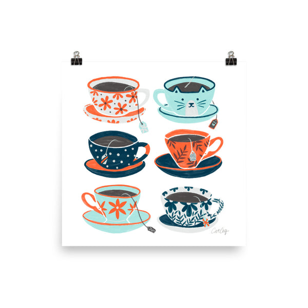 Tea Time - Coral and Teal
