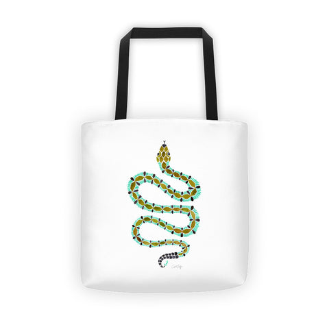 Serpent – Turquoise & Olive Palette • Tote Bag