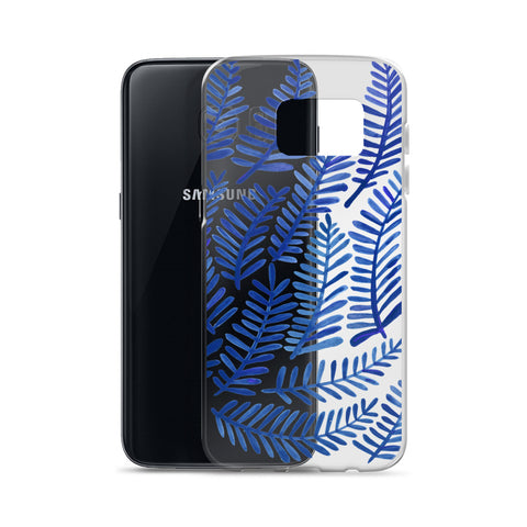 Fronds – Navy Palette • Samsung Case (Transparent)