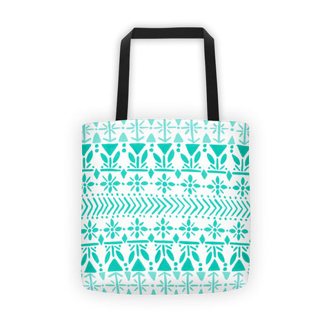 Norwegian Pattern – Turquoise Palette • Tote Bag