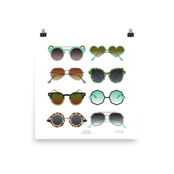 Sunglasses Collection – Mint & Tan Palette • Art Print