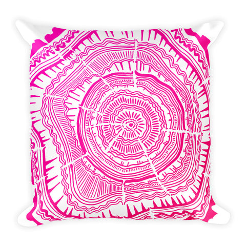 Tree Rings – Pink Palette • Square Pillow