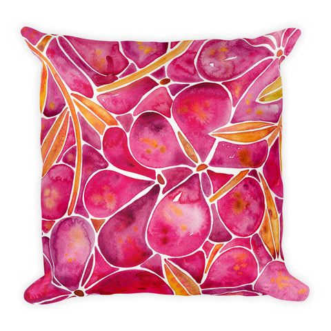 Orchid Wall – Fuschia & Yellow Palette  •  Square Pillow