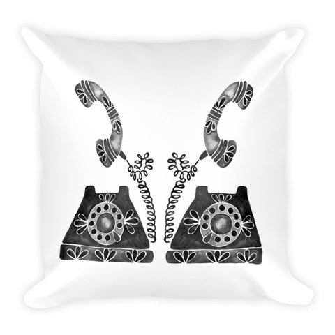 Vintage Rotary Phone – Black Palette • Square Pillow