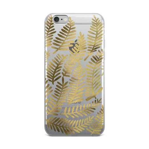 Fronds – Gold Palette • iPhone Case (Transparent)