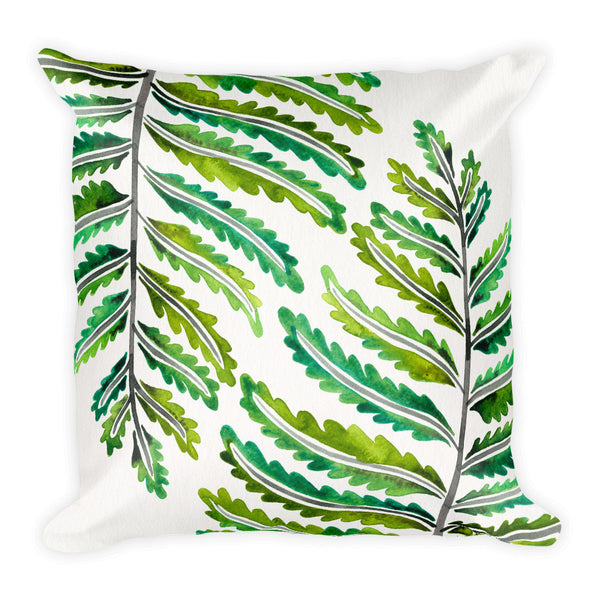 Fern Leaf – Green Palette •  Square Pillow