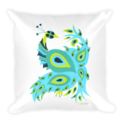 Peacock – Turquoise & Lime Palette • Square Pillow