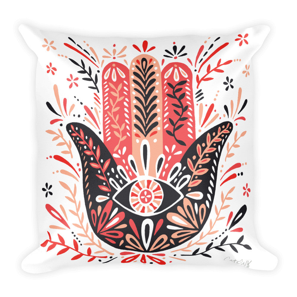 Hamsa Hand – Red & Black Palette  •  Square Pillow