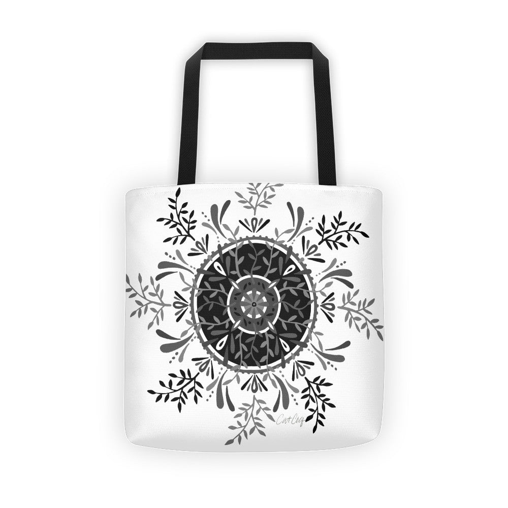 Leaf Mandala – Black Palette  •  Tote Bag