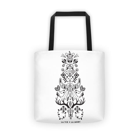 La Vie & La Mort – Black Ink on White • Tote Bag