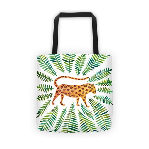 Jaguar – Green Leaves • Tote Bag