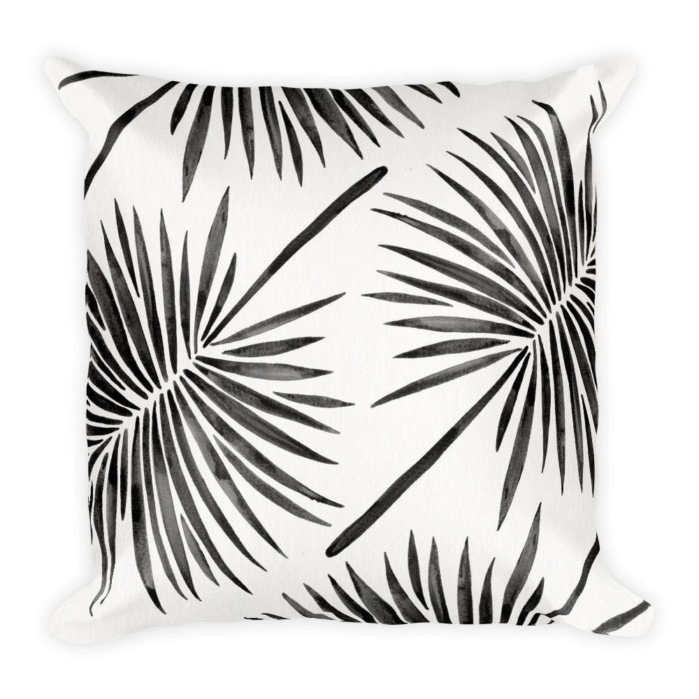 Fan Palm – Black Palette  •  Square Pillow