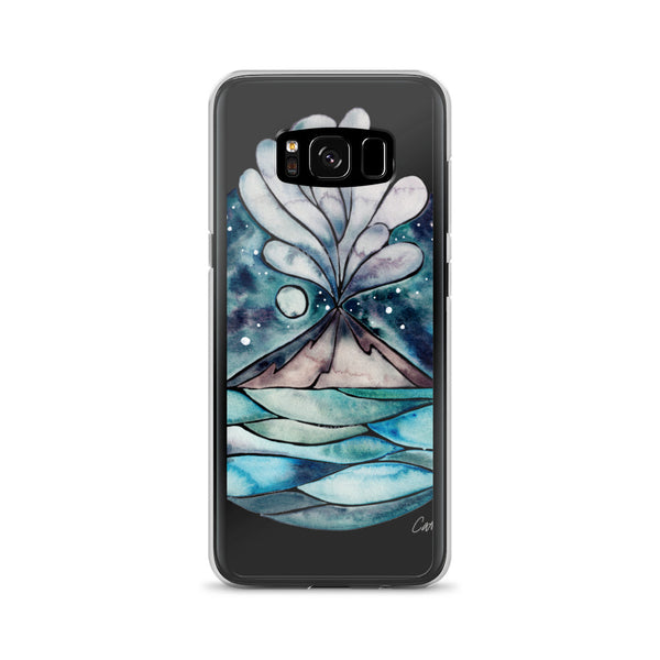 Stromboli Volcano at Midnight – Blue Palette • Samsung Case (Transparent)