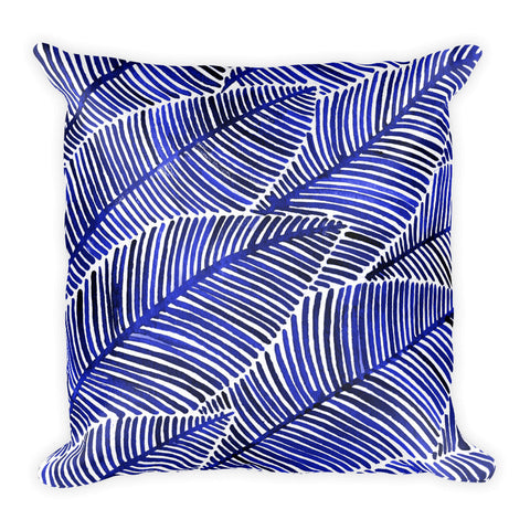 Tropical Leaves – Navy Palette  •  Square Pillow