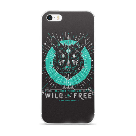 Wild & Free Wolf – Turquoise & Grey  •  iPhone 5/5s/Se, 6/6s, 6/6s Plus Case