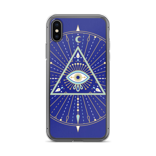 All-Seeing Eye Mandala – Navy Palette • iPhone Case