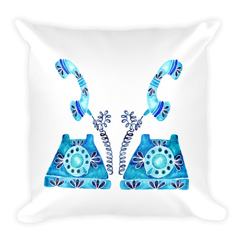 Vintage Rotary Phone – Blue Palette • Square Pillow