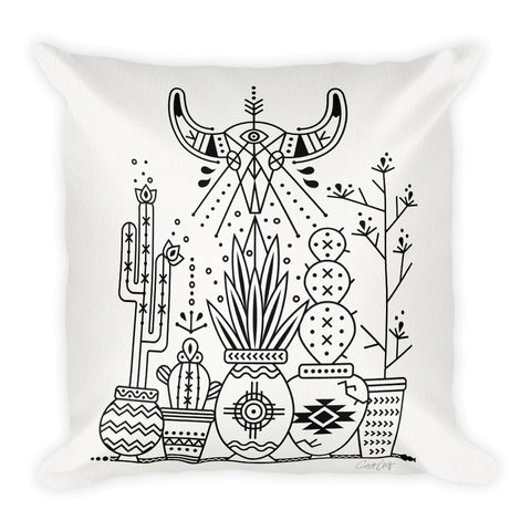 Santa Fe Garden – Black Ink  •  Square Pillow