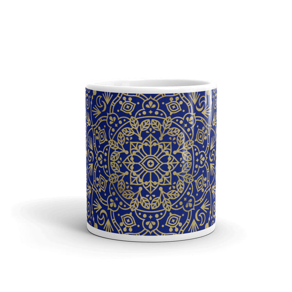 Moroccan Mandala – Gold on Navy • Mug