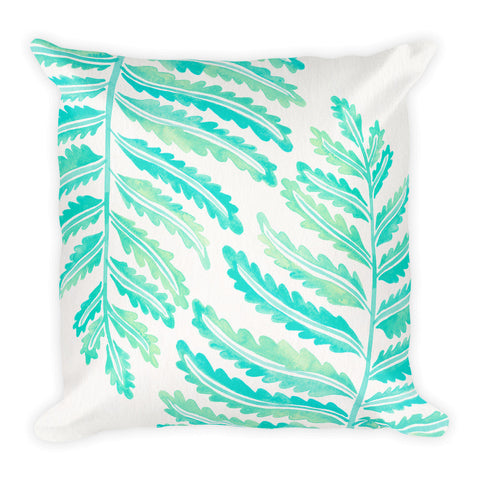 Fern Leaf – Mint Palette • Square Pillow