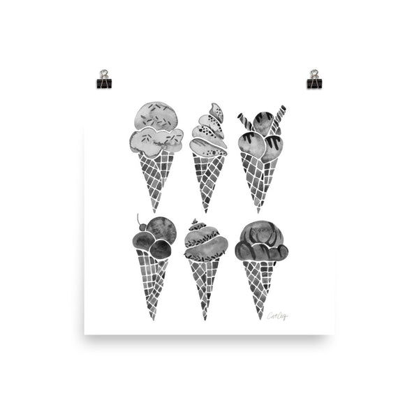 Ice Cream Cones – Black Palette • Art Print
