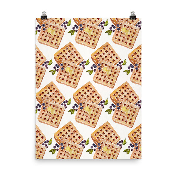Blueberry Breakfast Waffle Pattern • Art Print