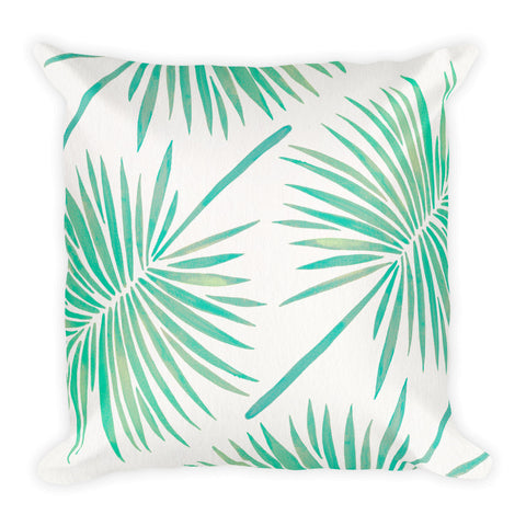 Fan Palm – Mint Palette  •  Square Pillow