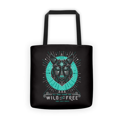 Wild & Free Wolf – Turquoise & Grey  •  Tote Bag