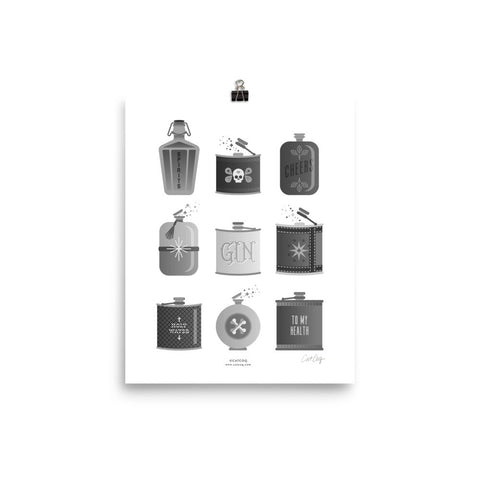 Flask Collection – Black & White Palette • Art Print